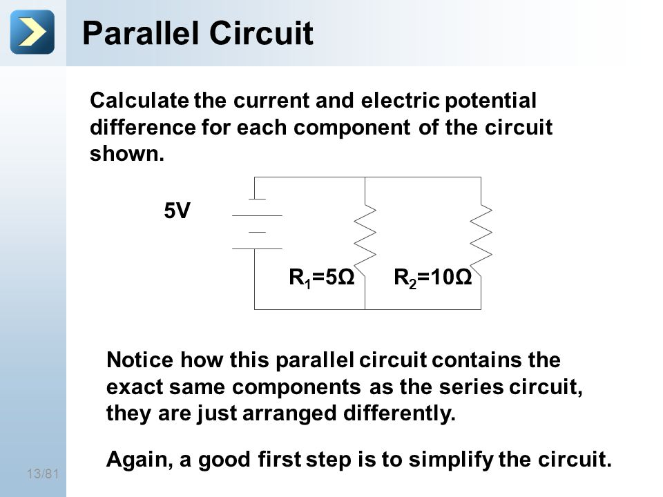 25-Mar-17 Parallel Circuit. [Title of the course] Calculate the current and electric potential difference for each component of the circuit shown.